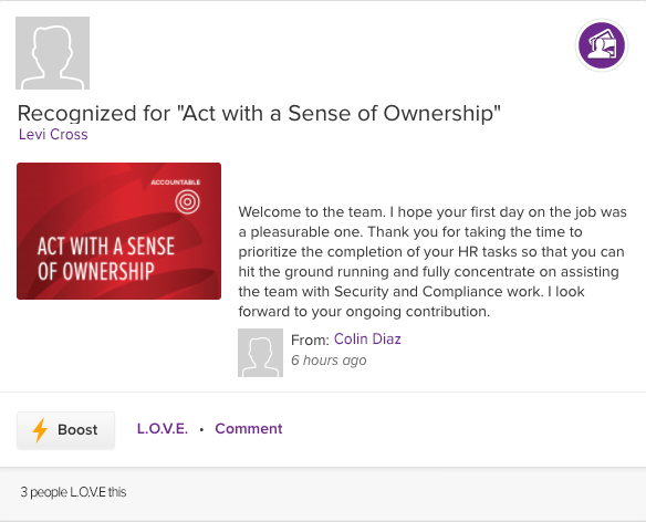 ASPIRE recognition for act with sense of ownership