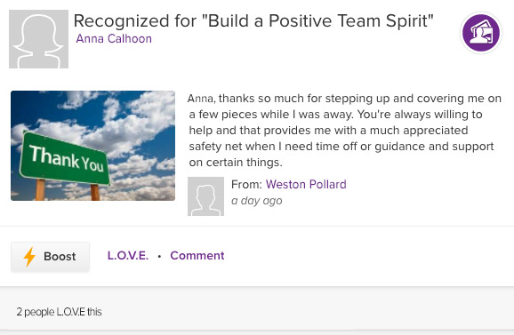 ASPIRE recognition for build a positive team spirit