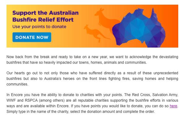 Australian bushfires campaign Achievers platform