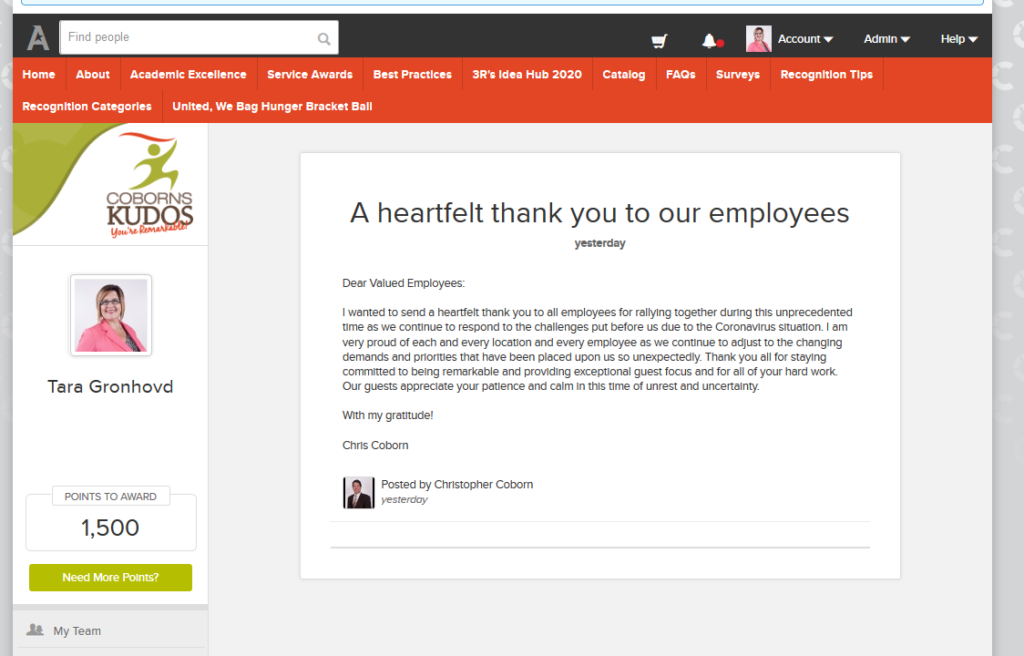 Screenshot of Coborn's Kudos program with 'thank you' message from Chris Coborn to all Coborn's employees