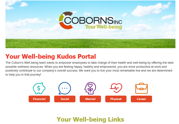 Image of Coborn's Well-being portal, containing initiatives promoted through Announcements