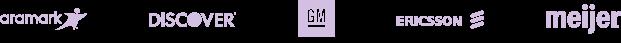 Aramark, Discover, GM, Ericsson, Meijer logos